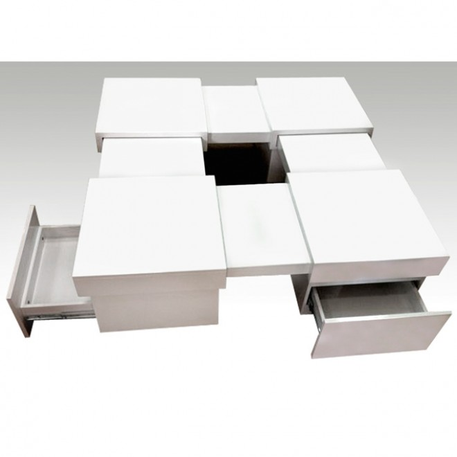 Table basse carr extensible laqu blanc avec 4 tiroirs - Table basse bar design ...